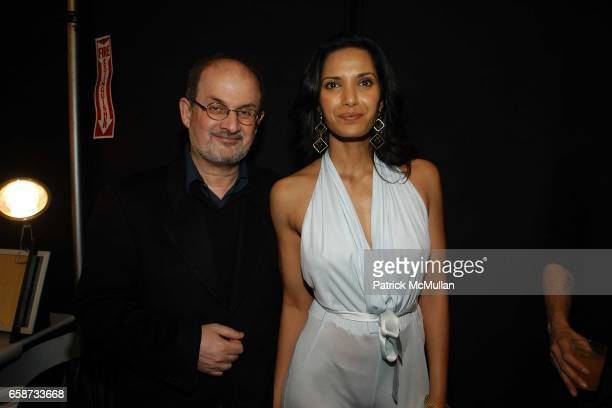 Salman Rushdie and Padma Lakshmi attend the Luca Luca Fashion Show at The Tent Bryant Park on February 8 2004 in New York City