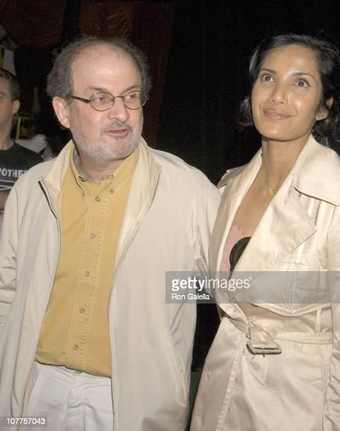 Salman Rushdie and Padma Lakshmi during Fahrenheit 9/11 New York Screening Departures at Ziegfeld Theater in New York City New York United States