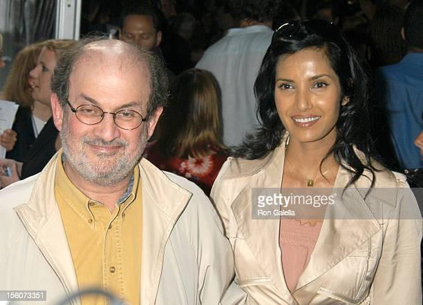 Salman Rushdie and Padma Lakshmi during 'Fahrenheit 9/11' New York Screening Outside Arrivals at Ziegfeld Theater in New York City New York United...