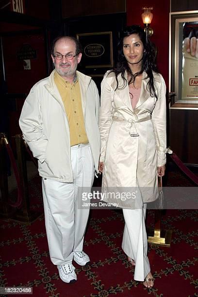 Salman Rushdie and Padma Lakshmi during Fahrenheit 9/11 New York Screening Inside Arrivals at Ziegfeld Theatre in New York City New York United States