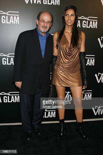 Salman Rushdie and Padma Lakshmi during MAC Cosmetics Celebrates Viva Glam VI with Exclusive Dinner Arrivals at Cedar Lake in New York New York...