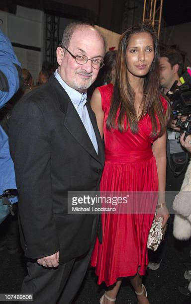 Salman Rushdie and Padma Lakshmi during Olympus Fashion Week Fall 2006 Diane von Furstenberg Front Row and Backstage at Bryant Park in New York City...