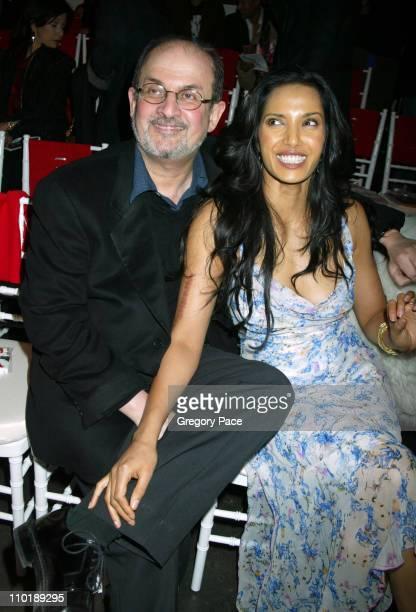 Salman Rushdie and Padma Lakshmi during Olympus Fashion Week Fall 2004 Diane Von Furstenberg Front Row at 389 West 12th Street in New York New York...