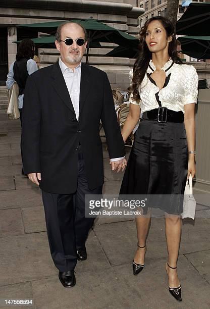 Salman Rushdie and Padma Lakshmi during Olympus Fashion Week Spring 2007 Seen at Bryant Park Day 4 at Bryant Park in New York City New York United...