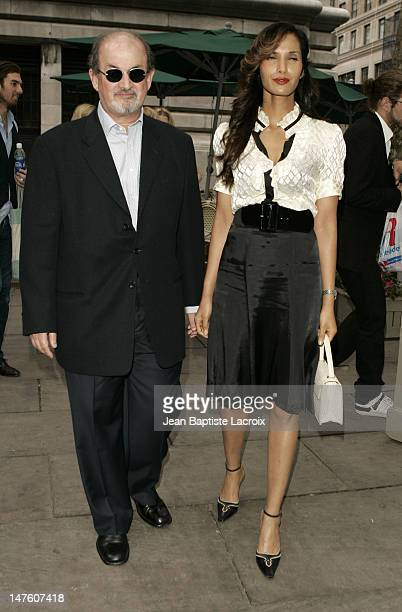 Salman Rushdie and Padma Lakshmi during Olympus Fashion Week Spring 2007 Seen at Bryant Park Day 4 at Bryant Park in New York City New York United...