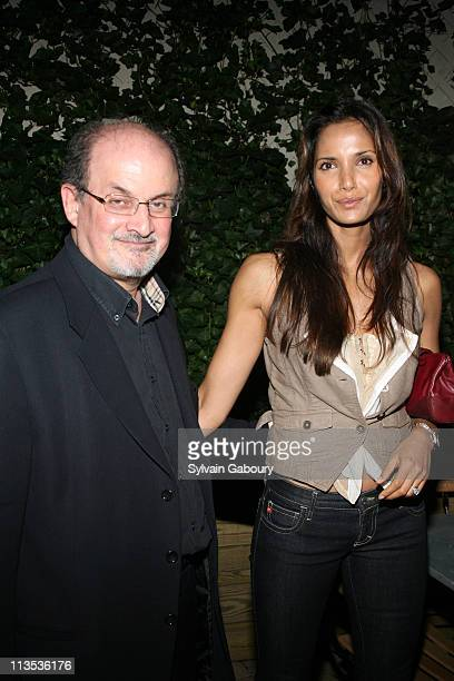 Salman Rushdie and Padma Lakshmi during The Cinema Society and DKNY Present a Screening of The Last Kiss After Party at The Yard at the Soho Grand...