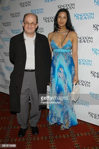 Salman Rushdie and Padma Lakshmi Rushdie attend 'Kingdom of Heaven' screening Arrivals at Ziegfeld NYC USA on May 4 2005