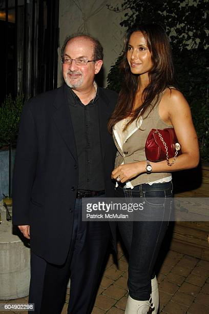 Salman Rushdie and Padma Lakshmi Rushdie attend THE CINEMA SOCIETY DKNY JEANS after party for THE LAST KISS at The Yard at the Soho Grand on...