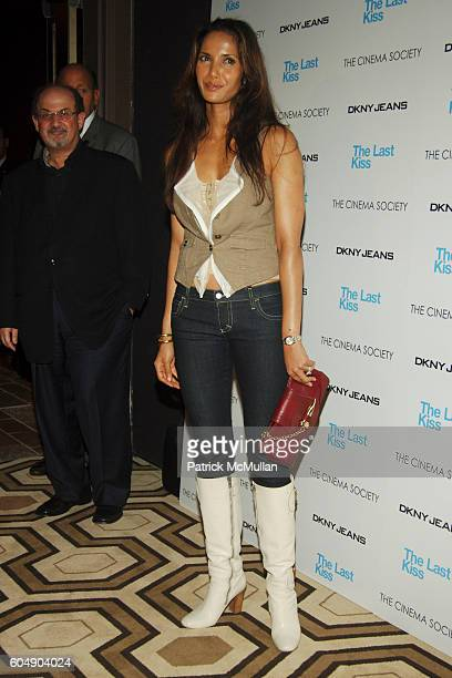 Salman Rushdie and Padma Lakshmi Rushdie attend THE CINEMA SOCIETY DKNY JEANS present a screening of THE LAST KISS at Tribeca Grand Hotel on...