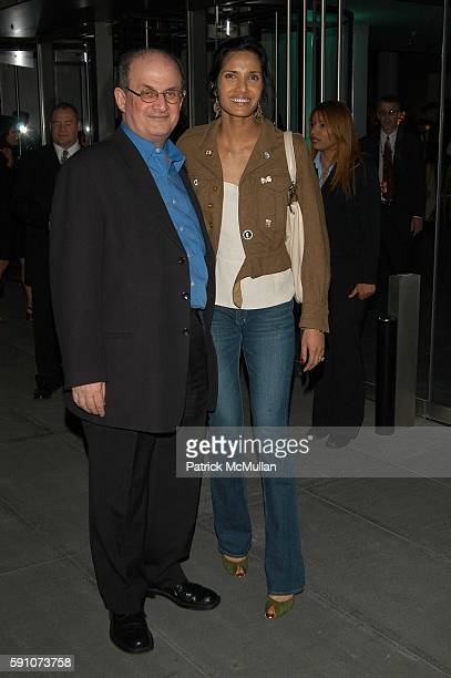 Salman Rushdie and Padma Lakshmi Rushdie attend The Interpreter screening Arrivals and AfterParty at Ziegfeld Theater and MOMA on April 19 2005 in...