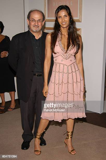 Salman Rushdie and Padma LakshmiRushdie attend Signé Chanel Premiere at The Core Club on September 5 2006 in New York City