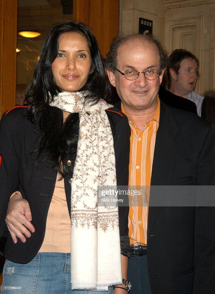 Salman Rushdie and Padma Lakshmi-Rushdie during Cirque du Soleil's 20th Anniversary of Dralion - Arrivals at The Royal Albert Hall in London, Great Britain.