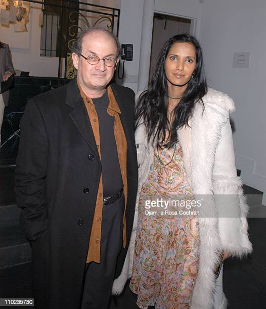 Salman Rushdie and Padma LakshmiRushdie during Olympus Fashion Week Fall 2005 Diane Von Furstenberg Backstage and Front Row at 389 West 12th Str in...