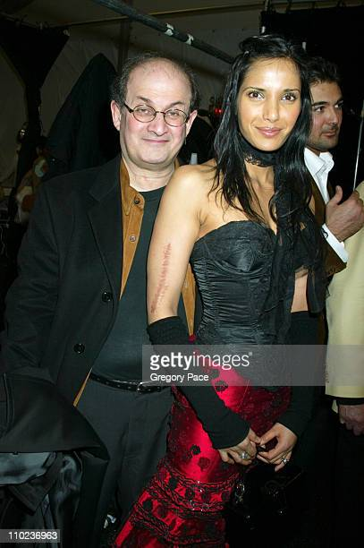 Salman Rushdie and Padma LakshmiRushdie during Olympus Fashion Week Fall 2005 Luca Luca Backstage and Front Row at Bryant Park Tents in New York City...