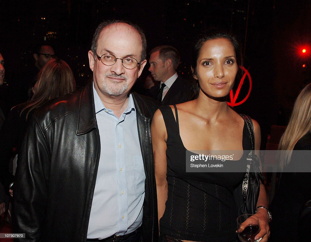 Salman Rushdie and Padna Lakshmi during 'V For Vendetta' New York City Premiere - Arrivals and After Party at The Rose Theatre - Frederick P. Rose Hall in New York City, New York, United States.