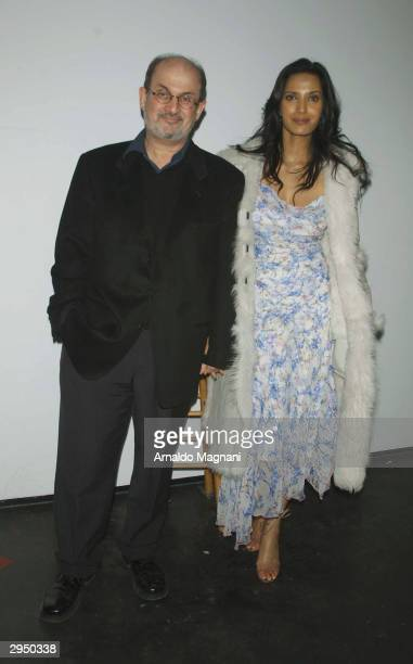 Salman Rushdie and wife actress Padma Lakshmi arrive at the Diane von Furstenberg fashion show at Bryant Park during the Olympus 2004 Fall Fashion...