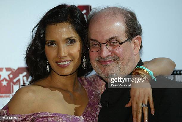 Salman Rushdie and wife actress Padma Lakshmi attend the MTV Party during the 57th Annual International Cannes Film festival at the MTV Villa on May...