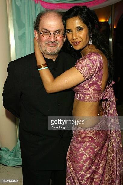 Salman Rushdie and wife Padma Lakshmi attend the 'MTV Party' at the MTV Villa on May 15 2004 in Cannes France