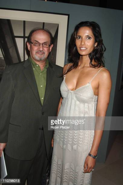 Salman Rushdie and wife Padma Lakshmi during Hearst Magazines Hosts 30 Days of Fashion and Charity Auction Event Benefitting The Ovarian Cancer...