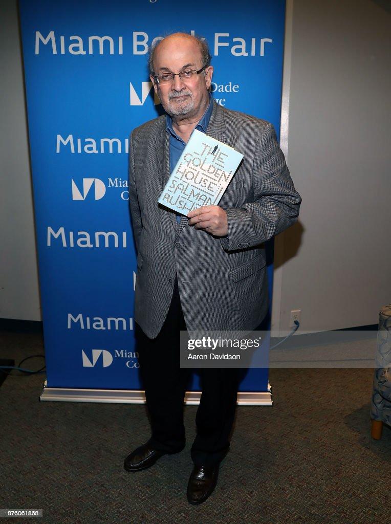 Salman Rushdie attends 2017 Miami Book Fair on November 18, 2017 in Miami, Florida.