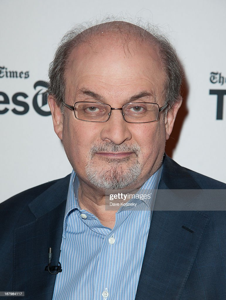 Salman Rushdie attends TimeTalks Presents: Freedom and Moral Courage Salman Rushdie and Ai Wei Wei at Times Center on May 3, 2013 in New York City.