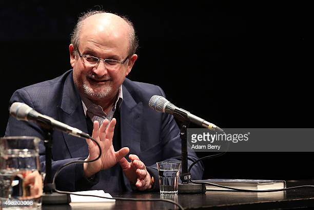 Salman Rushdie British Indian novelist and essayist attends a reading of his book 'Two Years Eight Months and TwentyEight Nights' on November 21 2015...