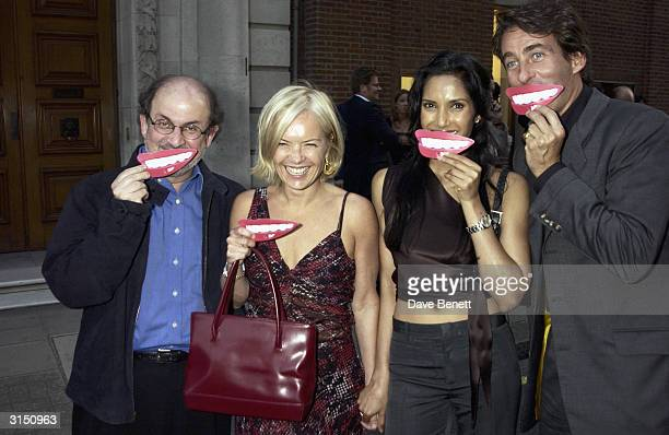 Salman Rushdie Mariella Frostrup Padma Lakshmi and Tim Jeffries attend the Hamiltons Gallery Summer Party showing the Tom Wesselmann exhibition on...