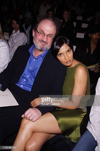 Salman Rushdie Padma Lakshmi during Luca Luca Fall 2002 Fashion Show Bryant Park at Bryant Park in New York New York United States
