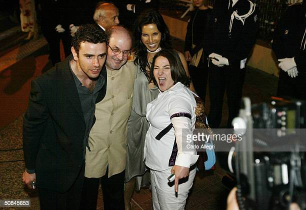 Salman Rushdie Padma Lakshmi with cast memebers depart after the premiere of movie 'Comme Une Image' directed by Agnes Jaoui at the Palais des...