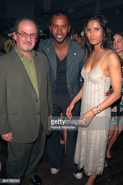 Salman Rushdie Ronnie Madhur and Padma Lakshmi attend TEMPERLEY LONDON After Party hosted by Moet Chandon at Alice Temperley Showroom on September 14...