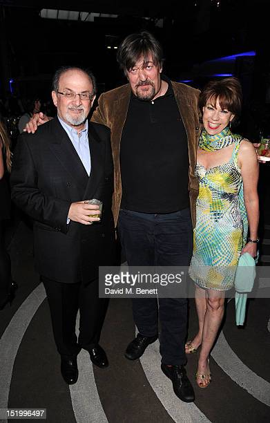 Salman Rushdie Stephen Fry and Kathy Lette attend the launch of 'Joseph Anton' by Salman Rushdie at The Collection on September 14 2012 in London...