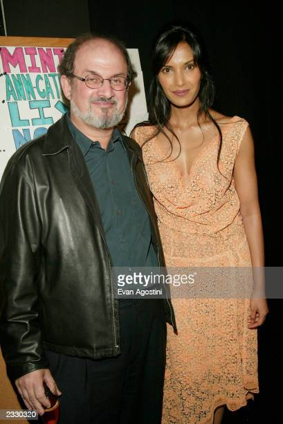 Salman Rushdie with girlfriend Padma Lakshmi backstage at the Luca Luca Spring 2003 fashion show during the MercedesBenz Fashion Week at Bryant Park...