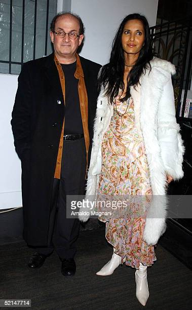 Salman Rushdie with his wife Padma Lakshmi attend the Diane Von Furstenberg Fashion show during Olympus Fashion Week at DVF Studio February 6 2005 in...