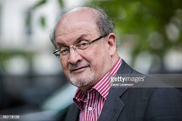 Salman Rushdie writer at the Cheltenham Literature Festival on October 10 2015 in Cheltenham England