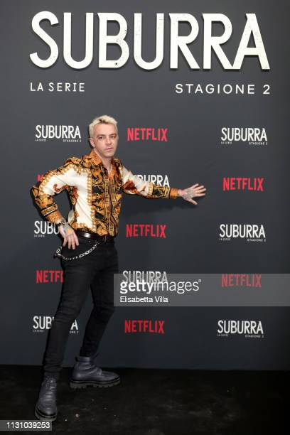 Salmo attends the after party for Netflix Suburra The Series season 2 launch at Circolo Degli Illuminati on February 20 2019 in Rome Italy