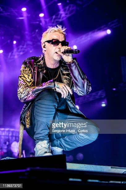 Salmo performs on stage at Mediolanum Forum on March 30, 2019 in Milan, Italy.