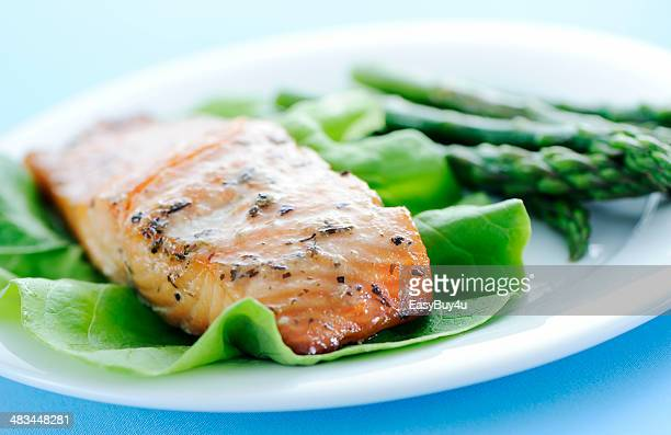 salmon and asparagus - low carb diet stock photos and pictures