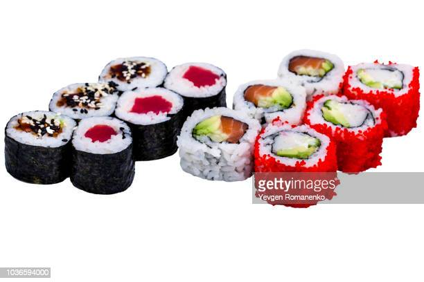 Salmon and caviar rolls set isolated on white background