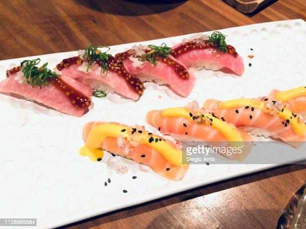Salmon and chilli and mustard nigiris