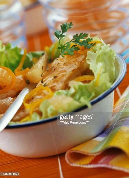 salmon and citrus fruit salad