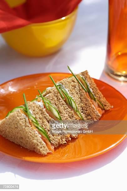 Salmon and cucumber sandwich
