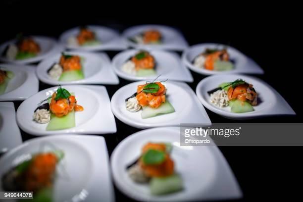 Salmon and cucumber tapas