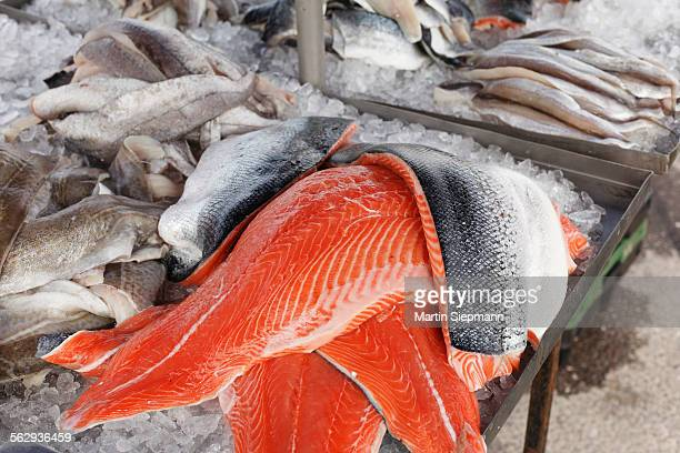 Salmon and other kinds of fish, market stall, Sneem, Ring of Kerry, County Kerry, Ireland, British Isles, Europe