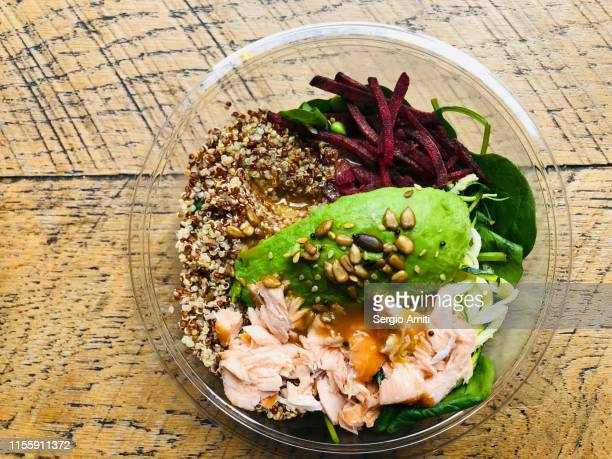 salmon and quinoa salad - sergio amiti stock pictures, royalty-free photos & images
