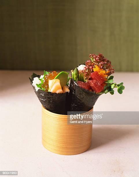 Salmon and tuna hand rolls