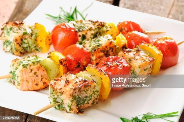 Salmon and vegetable skewers