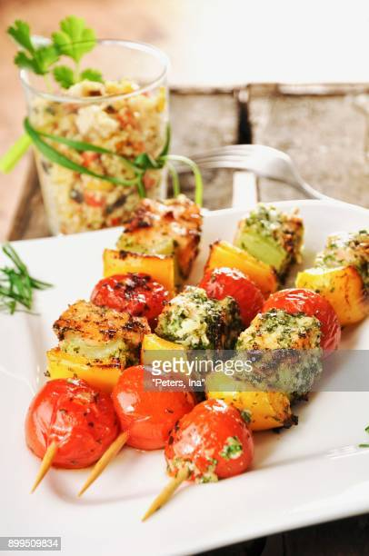 salmon and vegetable skewers - vegetable kebab stock pictures, royalty-free photos & images