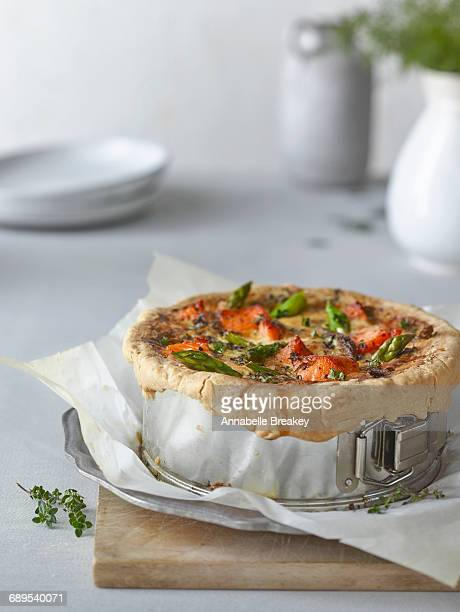 A Salmon Asparagus Quiche Pie