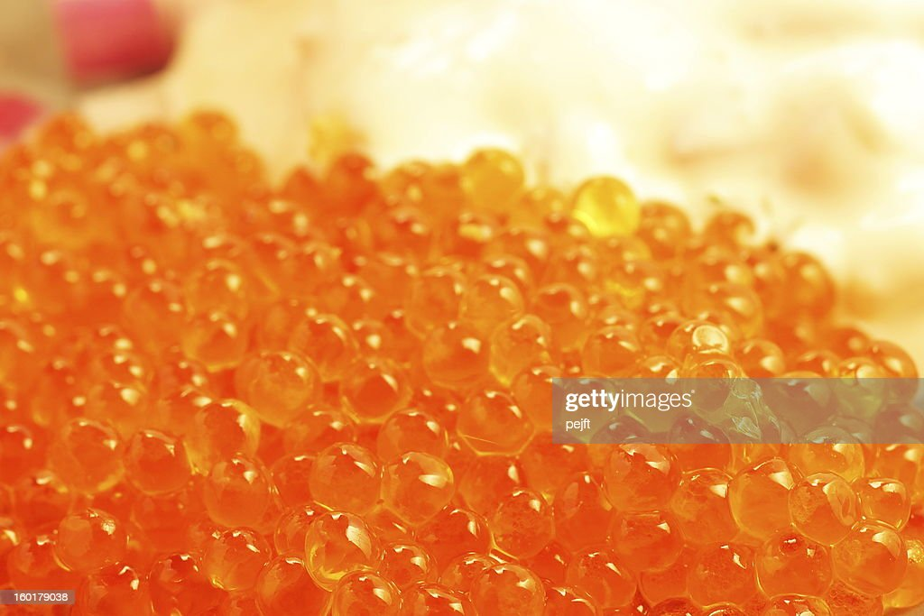 Salmon caviar close up : Stock Photo