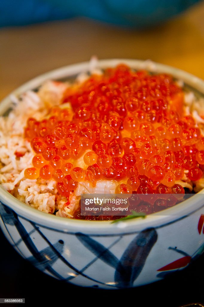 Salmon eggs and rice : Stock Photo